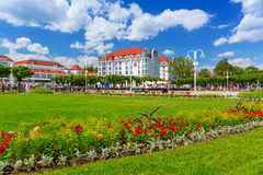 Square with beautiful gardens at the Sopot Molo, Poland. SOPOT, POLAND - 7 JUNE: Square with beautiful gardens at the Sopot Molo on 7 June 2014. Sopot is major Royalty Free Stock Photography