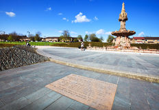 Square behind the Doulton Fountain in Glasgow Royalty Free Stock Photo