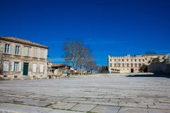 Square Below the Palace of the Popes royalty free stock images