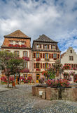Square in Bergheim, Alsace, France Royalty Free Stock Image