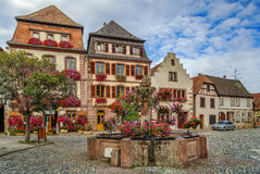 Square in Bergheim, Alsace, France Royalty Free Stock Photo