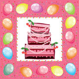 Square birthday card. Royalty Free Stock Image