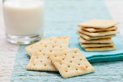 Square biscuit cracker with fresh milk in glass Royalty Free Stock Photography