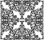 Square black on white floral design stock illustration