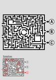 Square black and white maze with 3 input options, includes the solution to the problem Stock Images