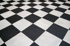 Square black and white tiles floor Royalty Free Stock Images