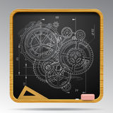 Square blackboard with chalk drawing of gear wheels Stock Photography