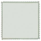 Square Blank Postage Stamp in Grey, Macro Isolated. Square Blank Postage Stamp, Light Pale Green / Grey Macro, Isolated Stock Photo