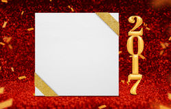 Square blank poster with ribbon and gold 2017 year 3d rendering. At perspective red sparkling glitter with gold confetti,Holiday greeting card design,Leave Stock Image