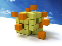 Square blocks forming cube Royalty Free Stock Photos