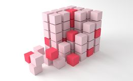 Square blocks forming cube. Red and pink square blocks forming cube shape, studio background Royalty Free Stock Image