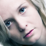Square Blue. A model portrait in the studio Royalty Free Stock Photography