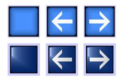 Square blue button front and back Royalty Free Stock Photos