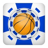 Square blue casino chips of basketball sports betting. Square tote symbol blue casino chips of sports betting with basketball ball. Bright bookmaker icon of Stock Images