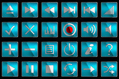 Square blue Control panel icons or buttons Stock Photos