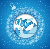 Square blue greeting card. Christmas ball made of snowflakes stock illustration