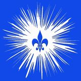 Square blue illustration. Square computer generated illustration with blue background, white irregular center and blue fleur De lis in center Royalty Free Stock Photography