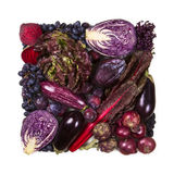 Square of blue and purple fruits and vegetables Stock Image