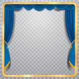 Square blue stage. Vector stage with blue curtain, golden frame and transparent shadow, blank background, layered and fully editable Royalty Free Stock Photos