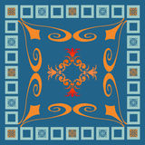 Square blue tile. Colourful square tile in blue and orange Royalty Free Stock Photos