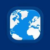Square blue world map icon Stock Photo