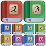 Square book icons for applications, e-books Stock Photography