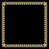 Square border with 3d embossed effect. Ornate luxurious golden frame in art deco style on black background. Elegant decorative lab stock illustration