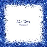 Square border frame with blue glitter on white background. Vector. Illustration Royalty Free Stock Image