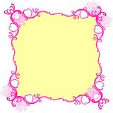 Romantic Pink Square Frame Border. Square border frame invitation card with hearts and romantic pink tones lacy edges Stock Image