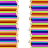 Square Border Frame Made of Colored Wood Pencils. Square Border Frame Made of Multi Colored Wood Pencils Isolated on White Background. Back to School Framework stock illustration
