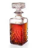 Square bottle. Isolated corrugated square crystal bottle - lit soft Royalty Free Stock Images