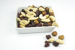 Square bowl with trail mix Stock Photography