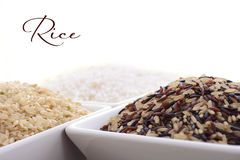 Square bowl of uncooked rice Stock Photography