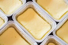 Square box of cheese base cake Royalty Free Stock Photos