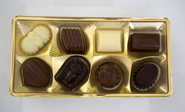 Square box of chocolates Royalty Free Stock Images
