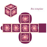 Square box template with lid.  floral elements and decorative frames Stock Photos
