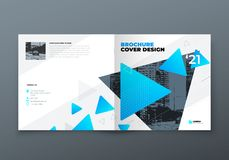 Square Brochure design. Blue corporate business rectangle template brochure, report, catalog, magazine. Brochure layout. Modern memphis abstract background stock illustration