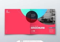 Square Brochure design. Magenta corporate business rectangle template brochure, report, catalog, magazine. Brochure. Layout modern circle abstract background vector illustration