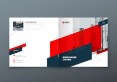 Square Brochure design. Red corporate business rectangle template brochure, report, catalog, magazine. Brochure layout. Modern memphis abstract background royalty free illustration