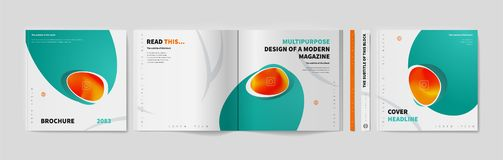 Square brochure template. Cover business annual report, catalog, magazine, journal mockup, modern printed product, boo,. Square brochure template design. Cover royalty free illustration
