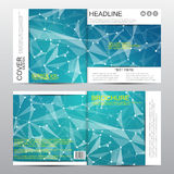 Square brochure template with molecular structure. Geometric abstract background. Medicine, science, technology. Vector Stock Photo