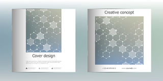 Square brochure template with structure of molecular particles and atom. Polygonal abstract background. Medicine Stock Photo