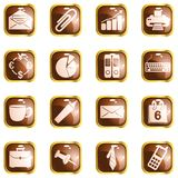 Square brown High-gloss office buttons Stock Photography