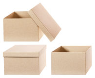 Square brown solid cardboard box isolated Royalty Free Stock Image