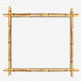 Square wooden border frame made of brown bamboo sticks royalty free illustration
