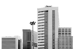 Square building in capital city. (Black and white scene Stock Photos