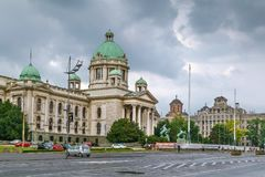 Square with National Assembly, Belgrade, Serbia. Square with Building of National Assembly of the Republic of Serbia, Belgade royalty free stock photo