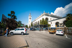 Square and building of railway station, Sochi Stock Photos