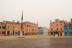 The square of Burano in Venice Royalty Free Stock Photos