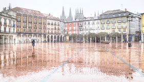 Square of burgos raining and snowing Royalty Free Stock Photo